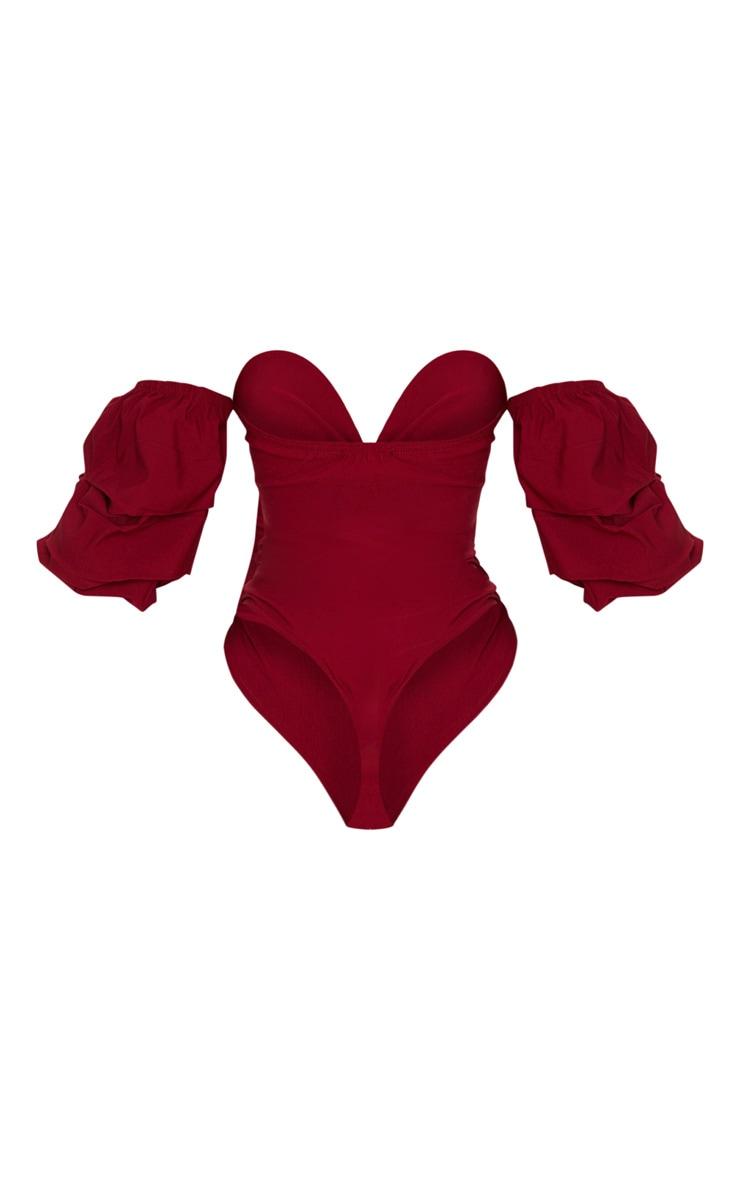Scarlet Woven Bardot Ruched Bodysuit 4