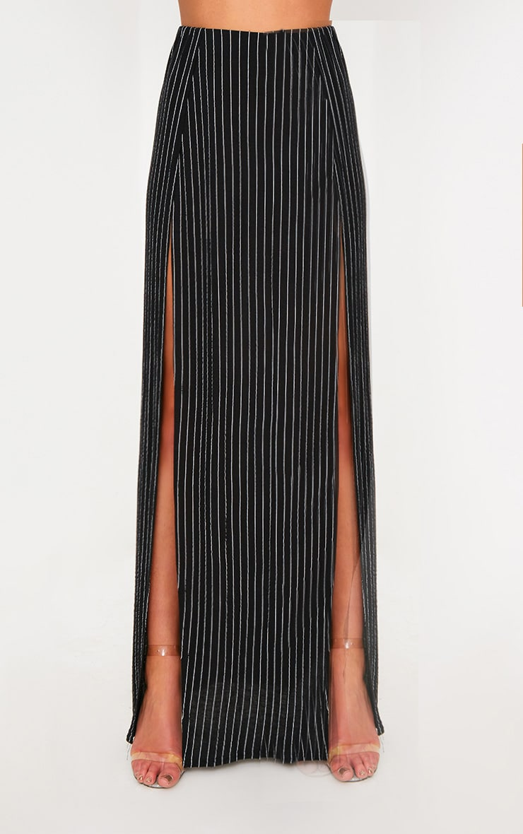 Black Pinstripe Double Split Maxi Skirt  2