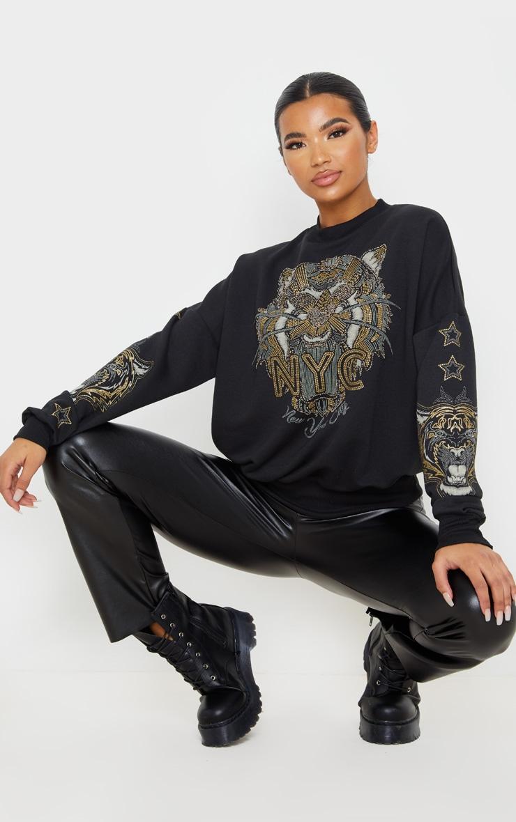 Black Tiger Embellished Sweater 3