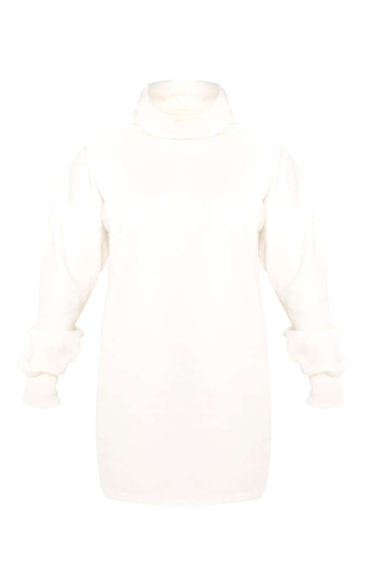 Petite Cream Oversized Sweat Roll Neck Jumper Dress 3