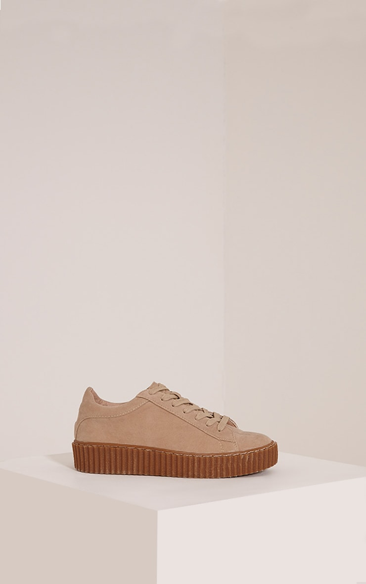 Cia Nude Faux Suede Creeper Trainers 3