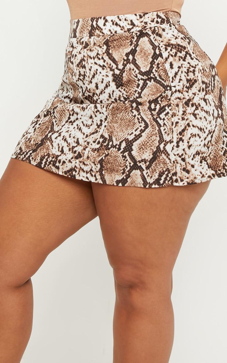 Plus Taupe Snake Print Mini Skirt 6