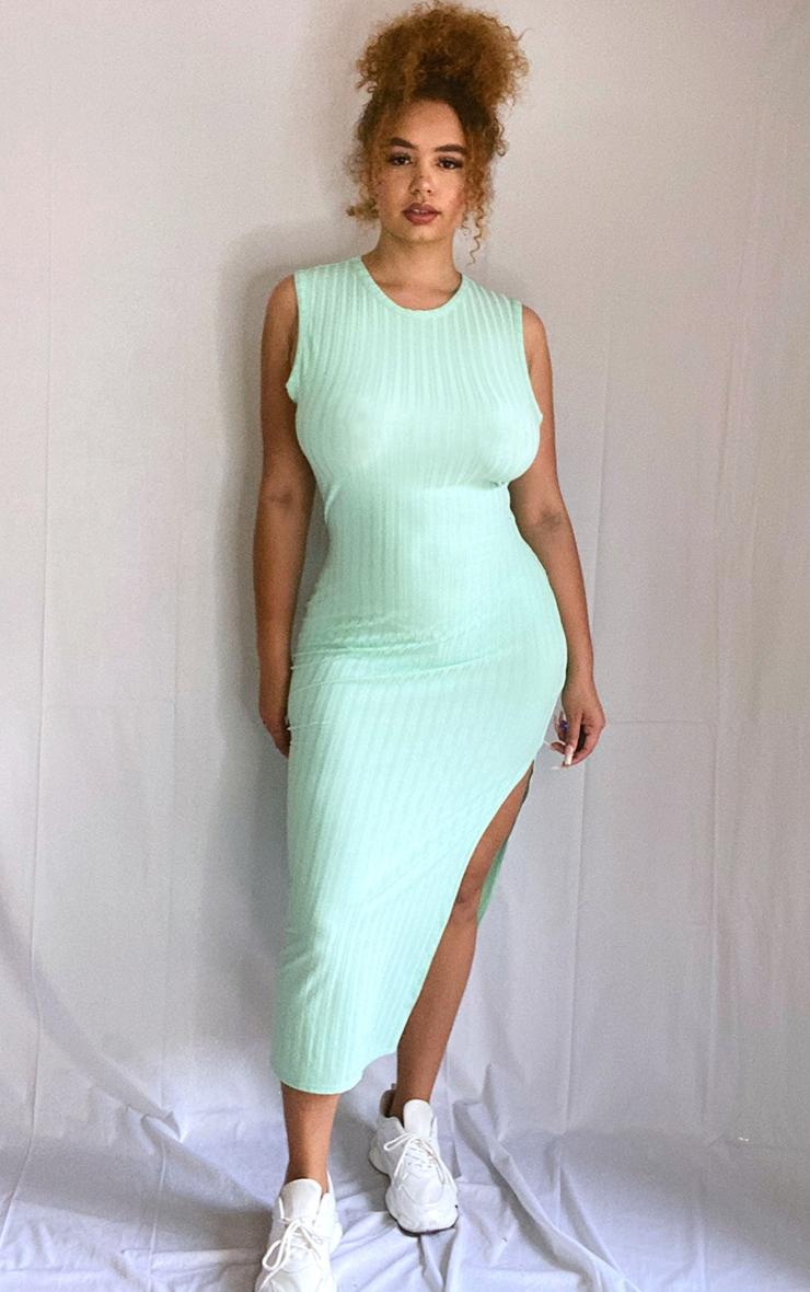 Plus Mint Recycled Wide Rib Split High Neck Midi Dress 1
