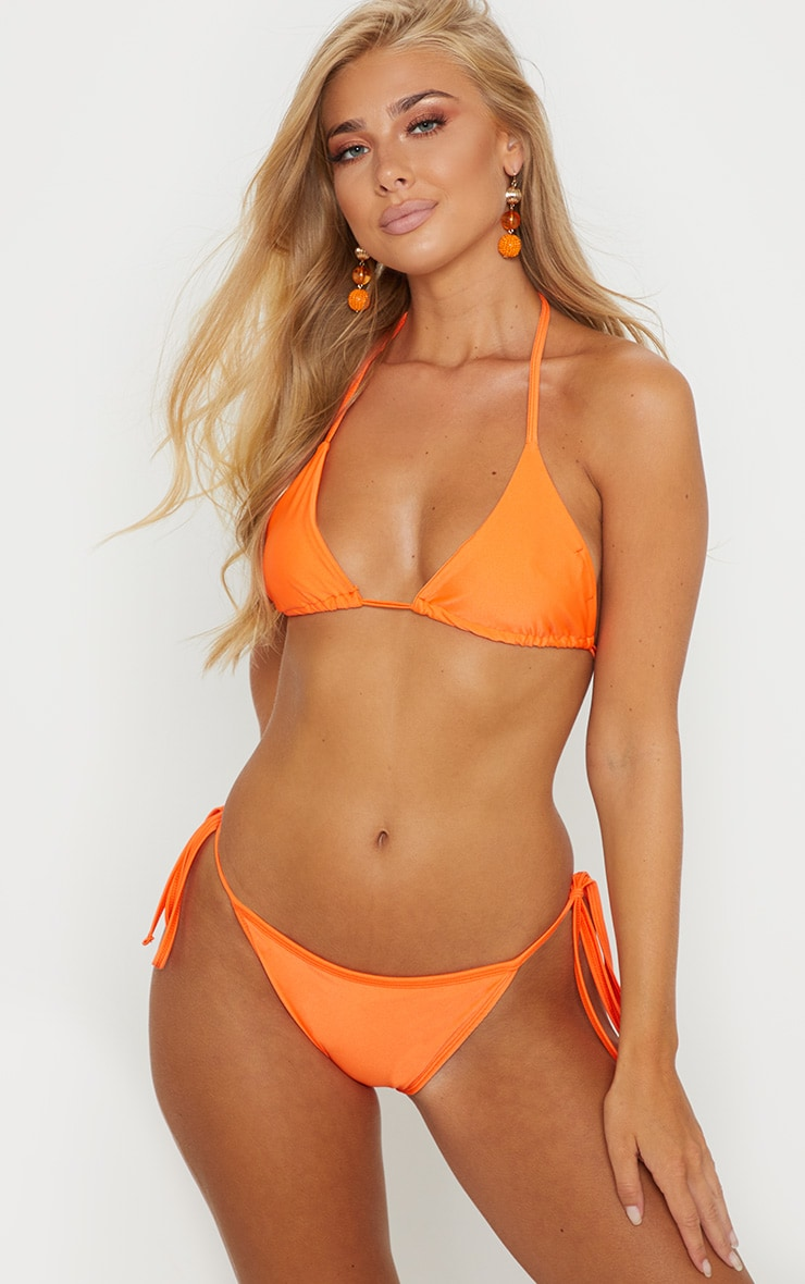 Orange Mix & Match Tie Side Bikini Bottom 1