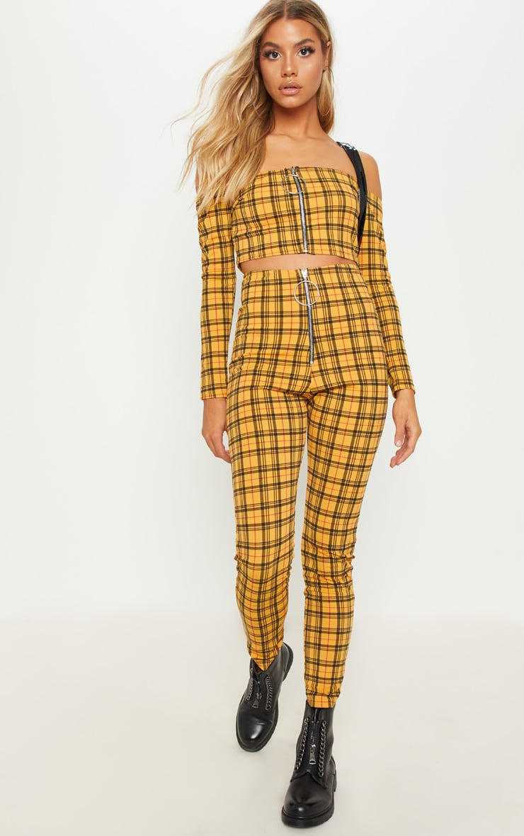 Yellow Check Zip Front Trouser