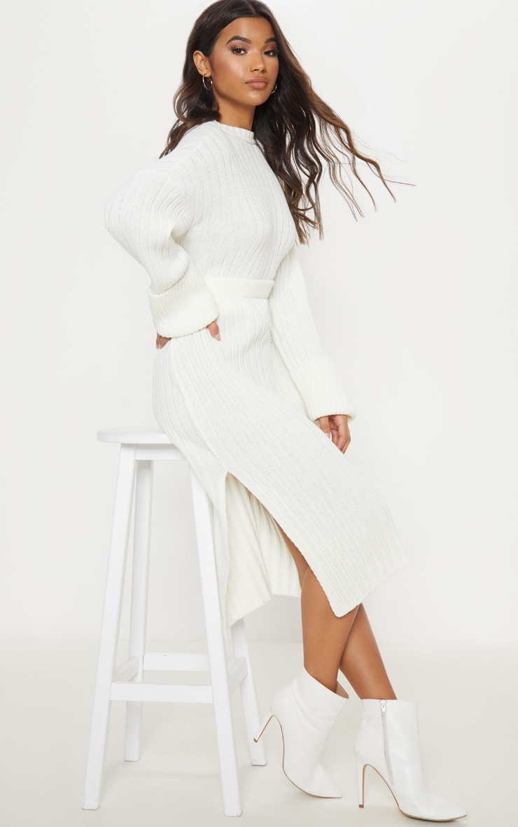 Cream Ribbed Knitted Midi Skirt