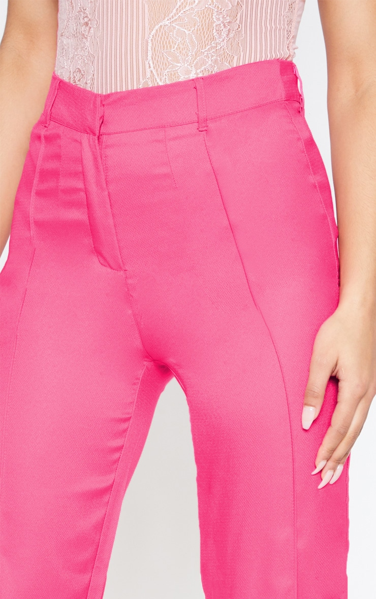 Anala Neon Pink High Waisted Straight Leg Trousers 5