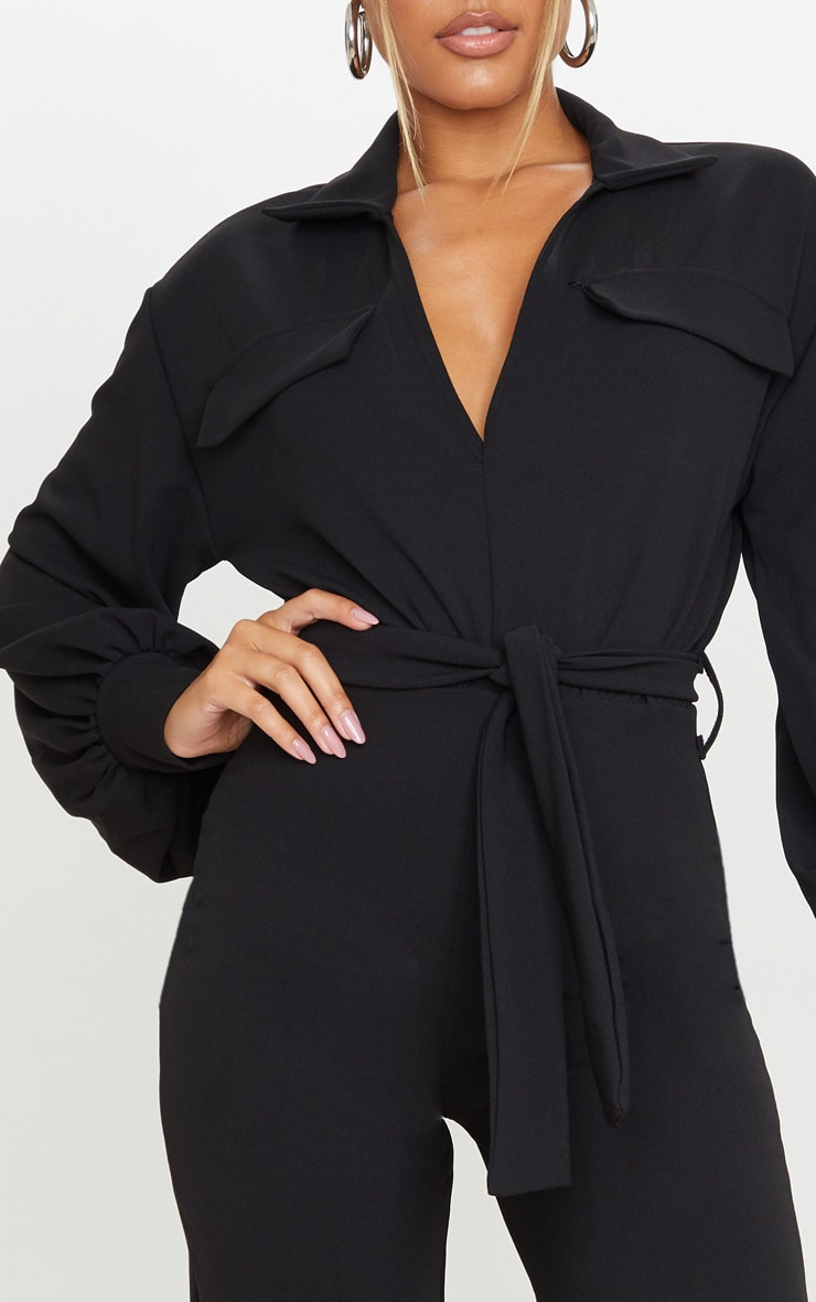 Black Oversized Shirt Style Tie Waist Jumpsuit 4