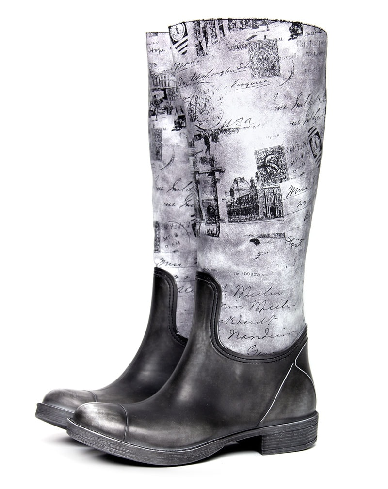 Lindi Black washed out print knee boots 2