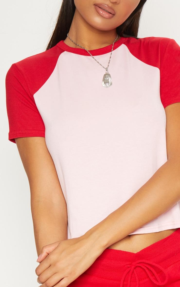 Pink Contrast Sleeve T Shirt 5