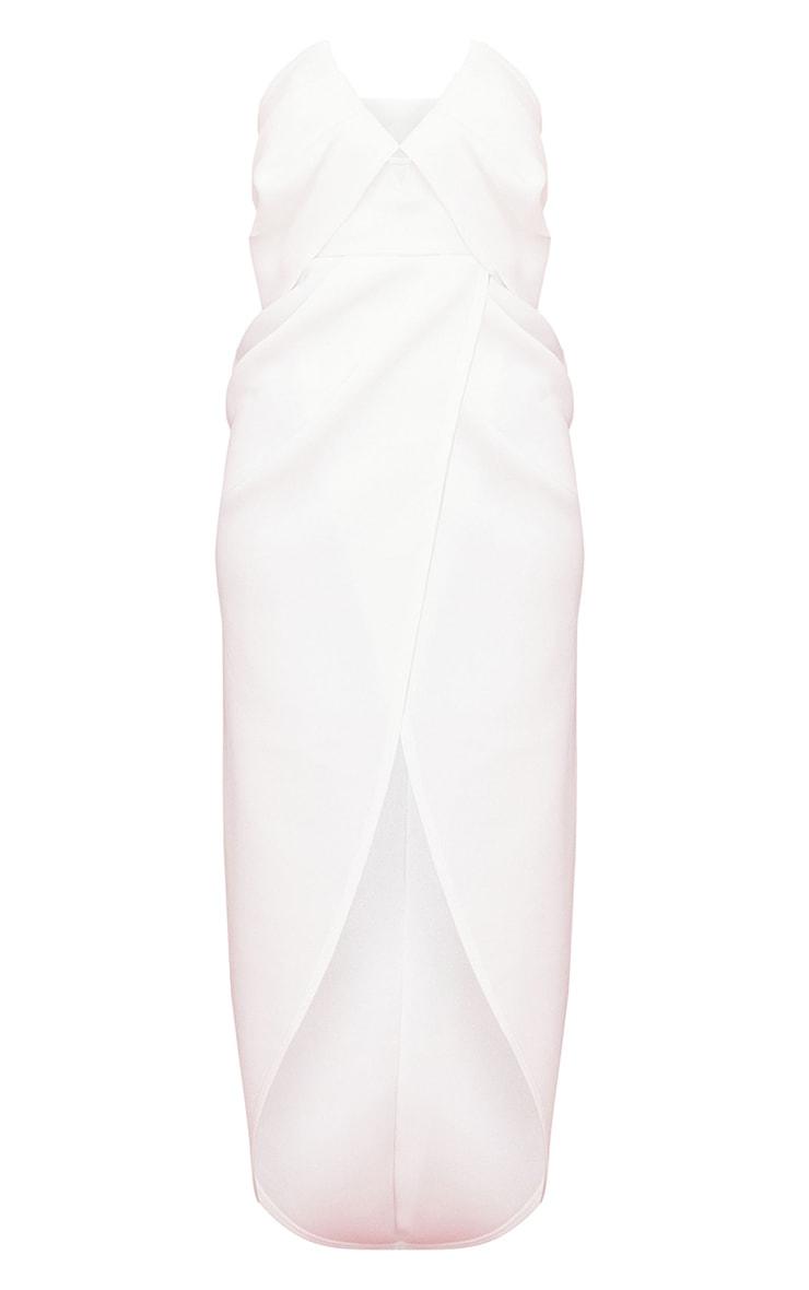 White Scuba V Bar Drape Bardot Maxi Dress 5