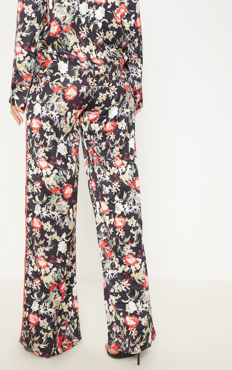 Multi Floral Satin Printed Wide Leg Trousers 4