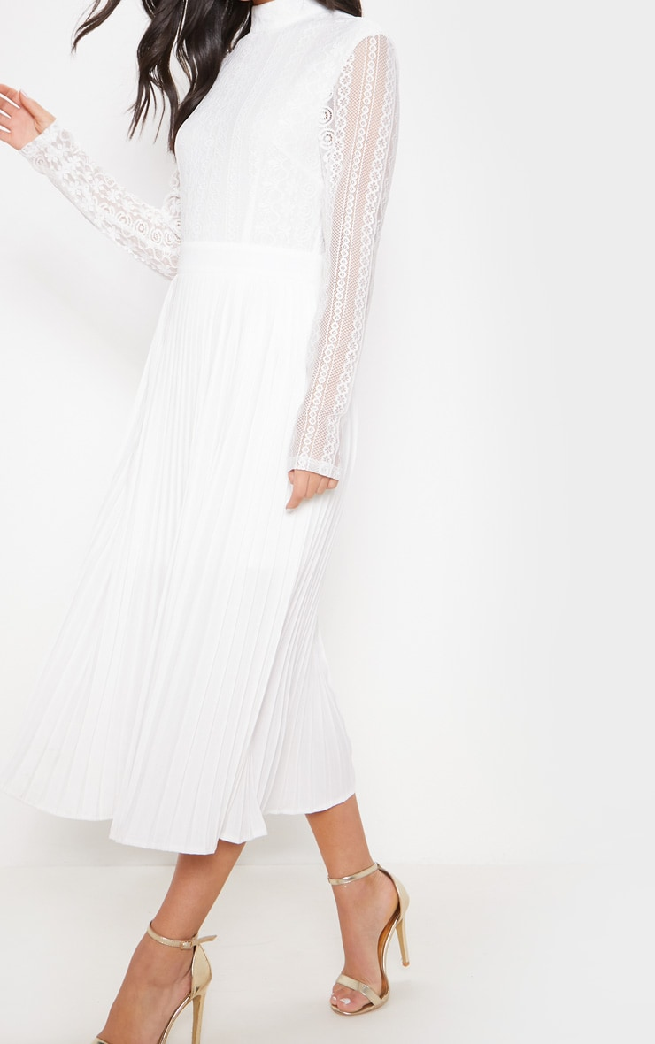 White Lace Top Pleated Midi Dress 5
