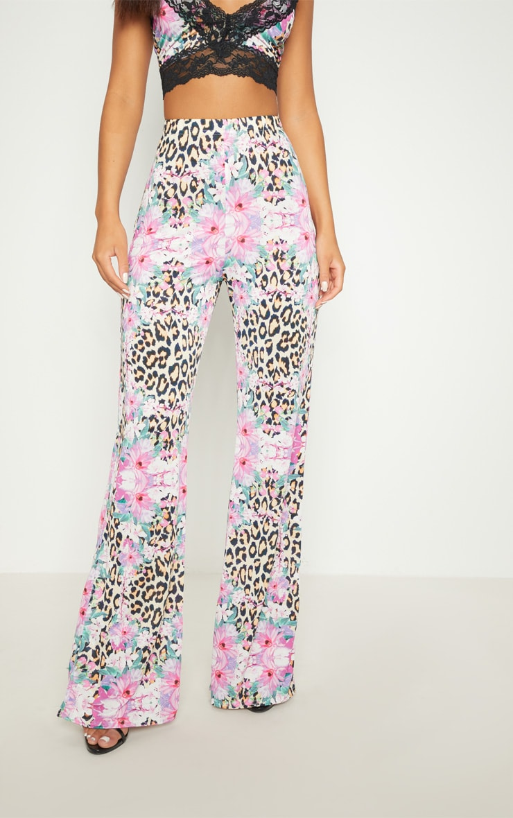 Pink Slinky Mixed Print Flare Trouser  2