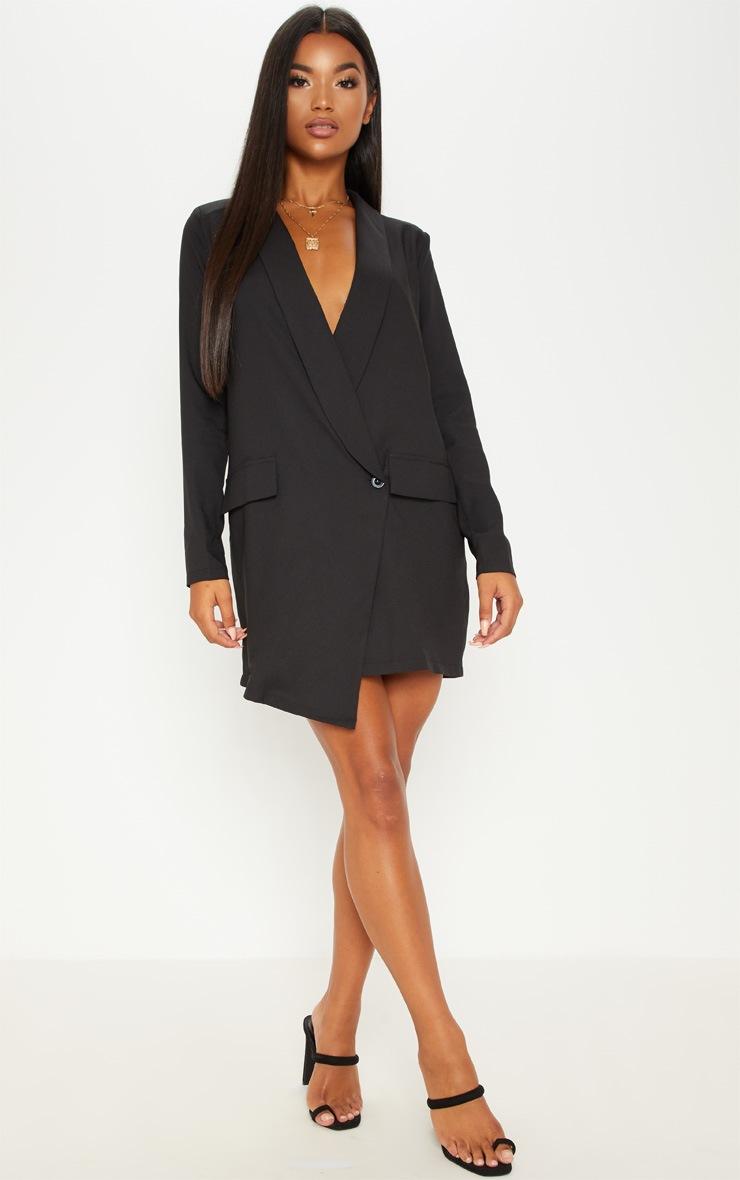 Black Asymmetric Hem Oversized Blazer Dress 4