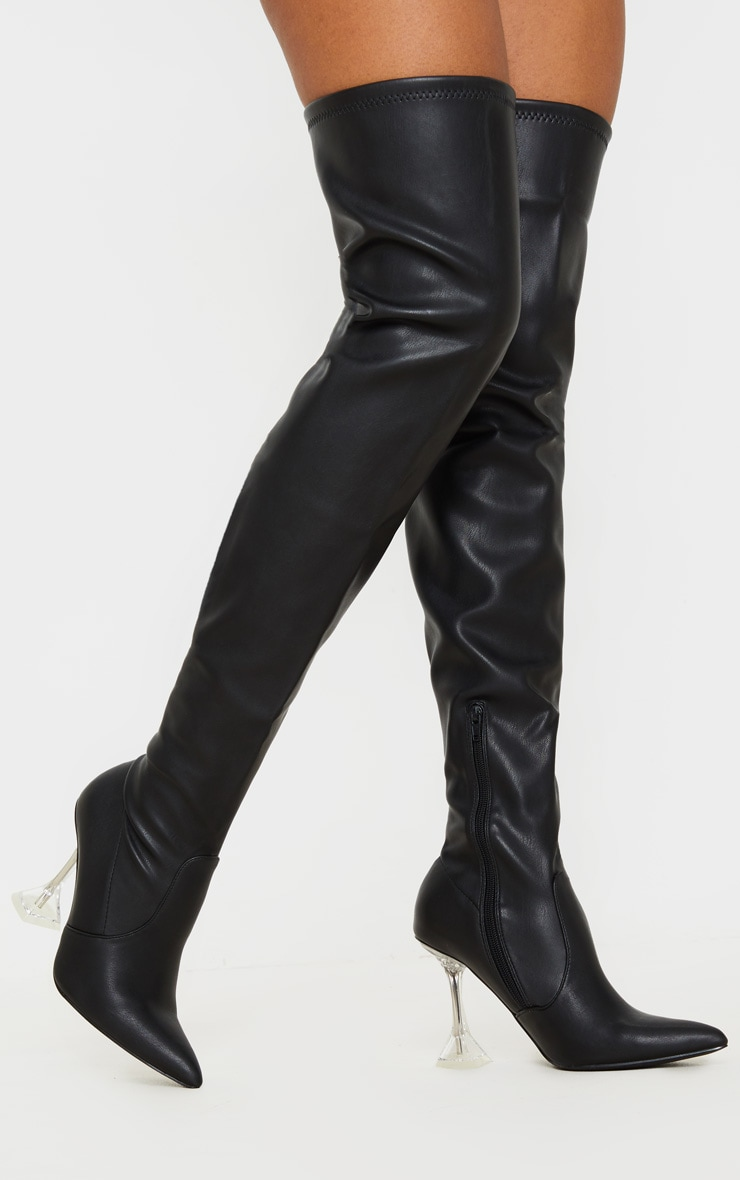 Black Cake Stand Thigh High Slouch Boot 1