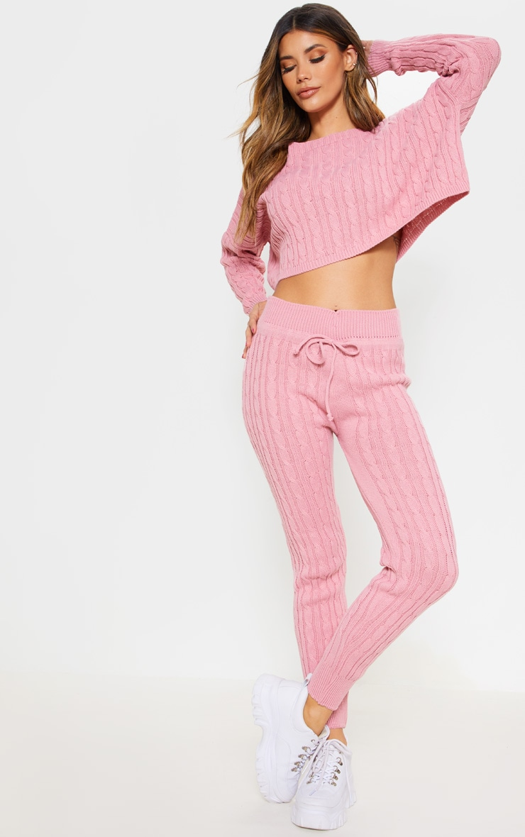Dusty Pink Cable Knit Jumper & Legging Set 4