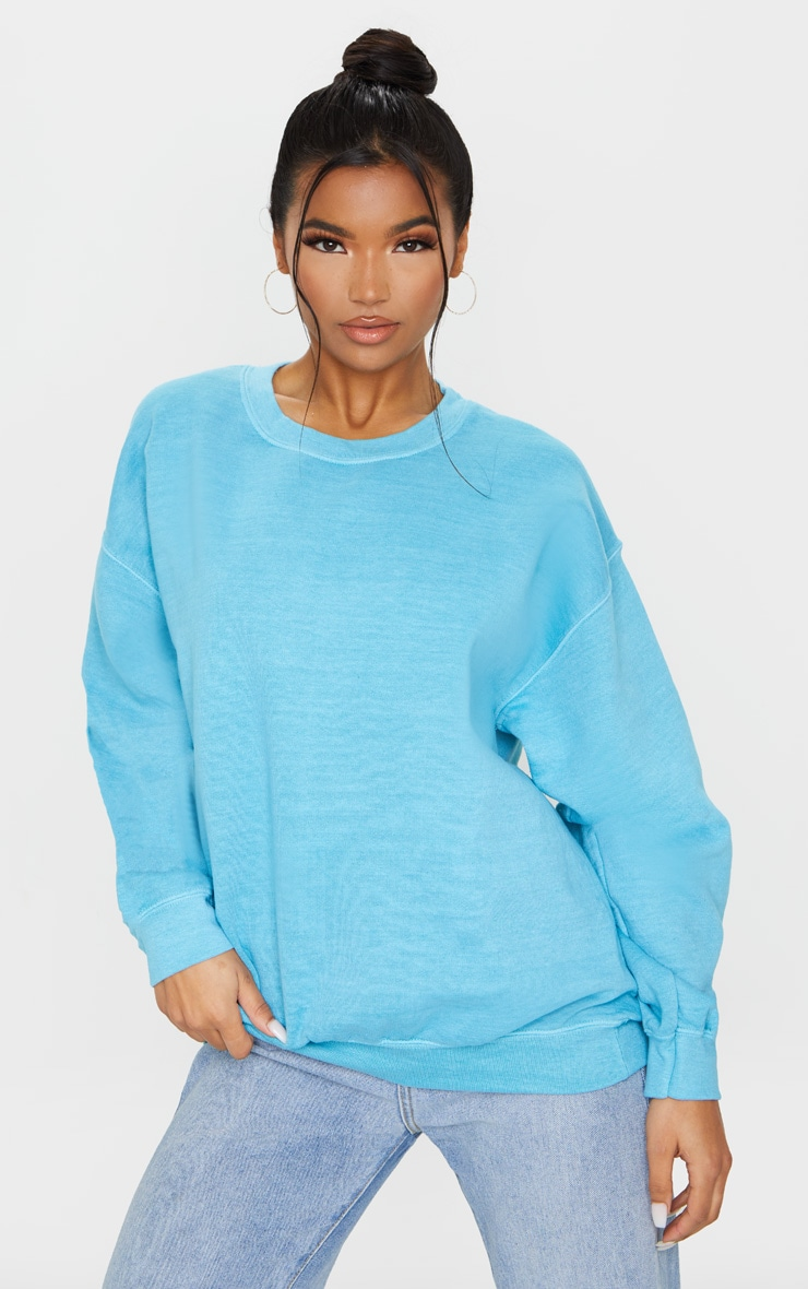 Dusty Turquoise Washed Oversized Sweater 1