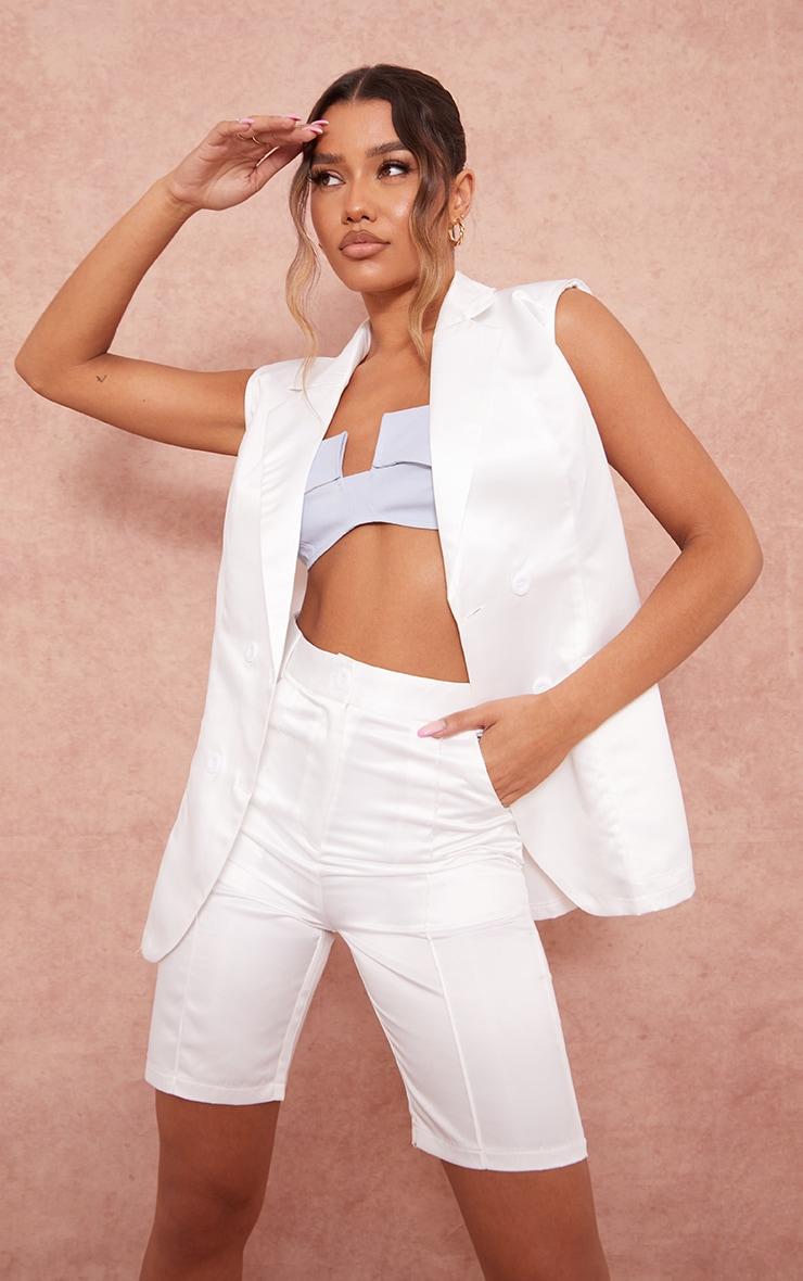 White Structured Satin Longline Shorts 4
