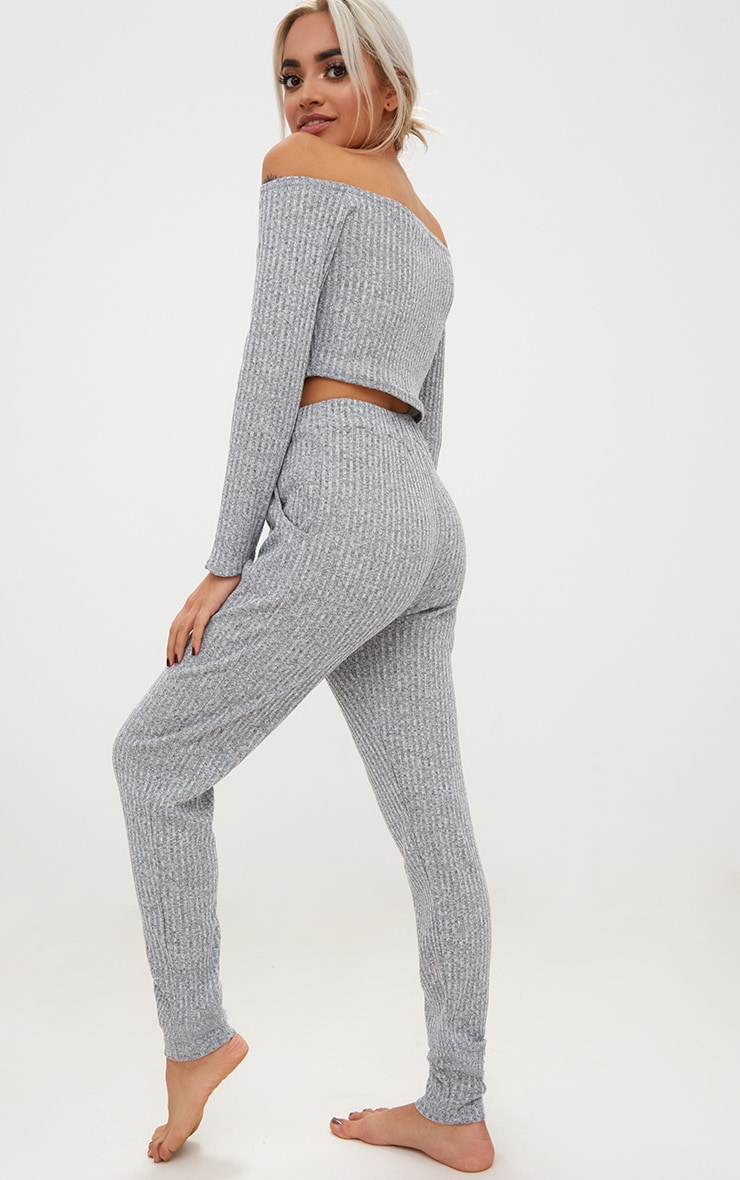Grey Marl Bardot Knit Set 2