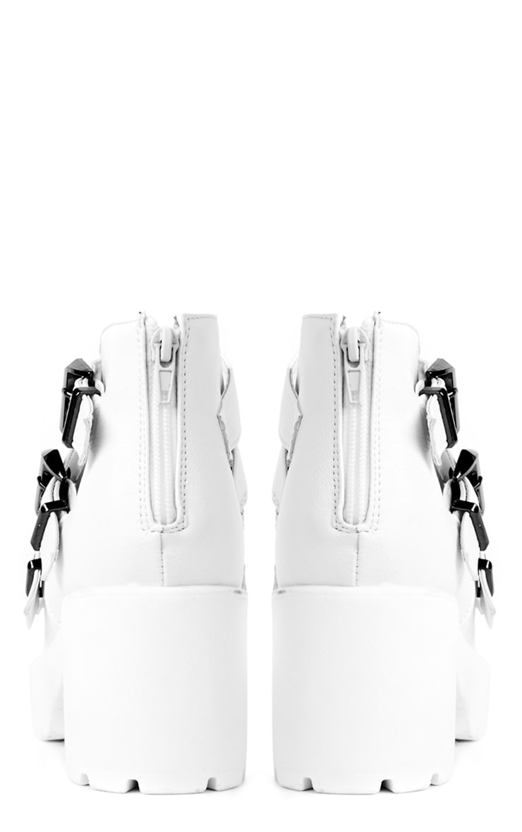 Regan White Cleated Buckle Chunky Sandals 3