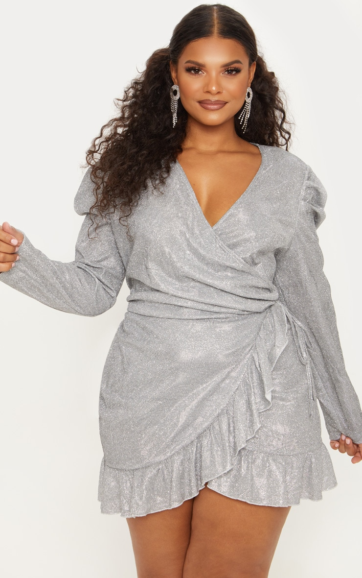 Plus Silver Puff Sleeve Frill Hem Wrap Dress 2