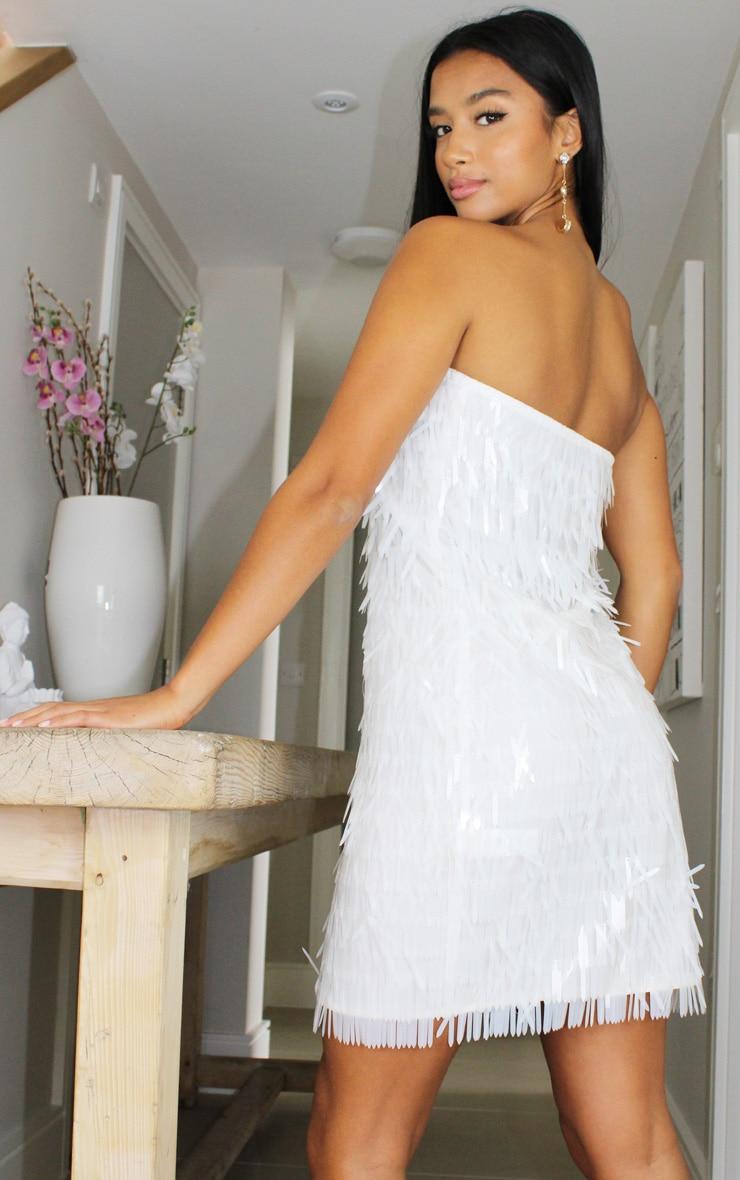 Petite White Tassel Sequin Bandeau Bodycon Dress 2