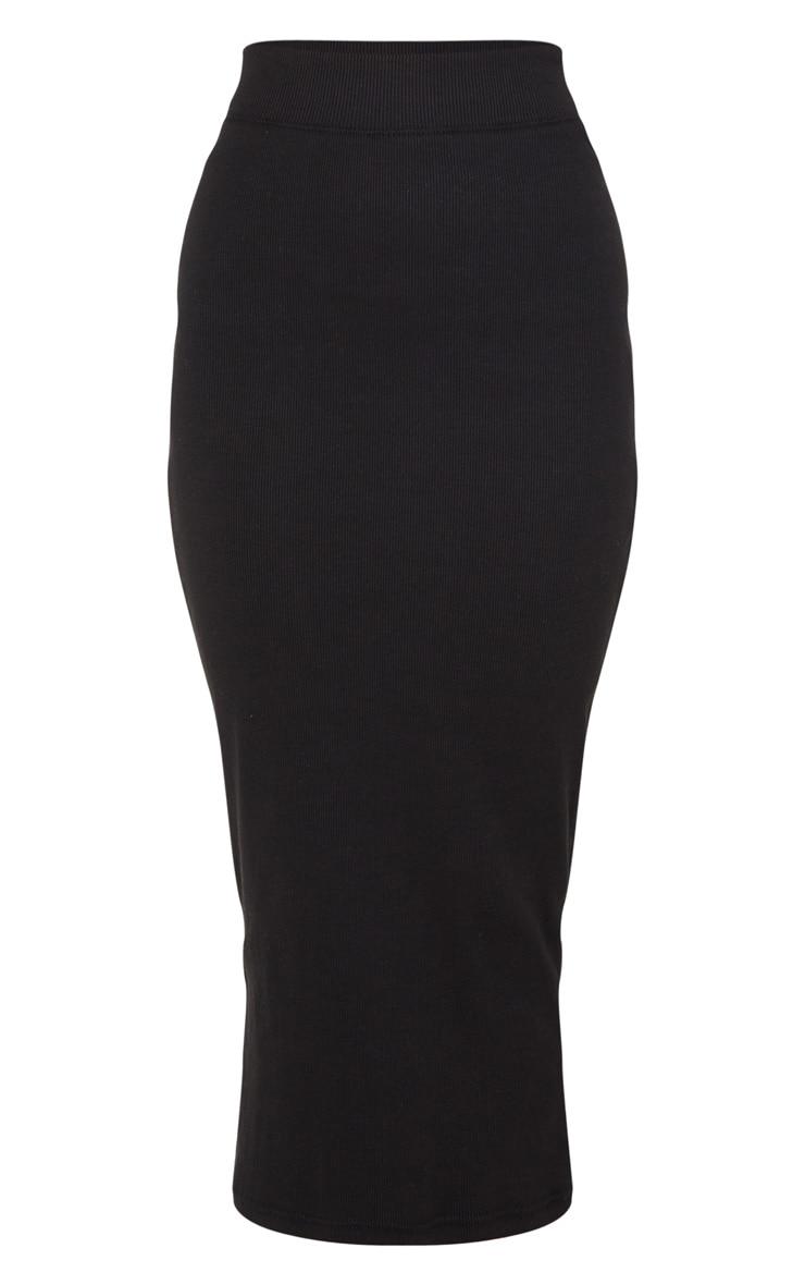 Black Structured Rib Bodycon Midaxi Skirt 5