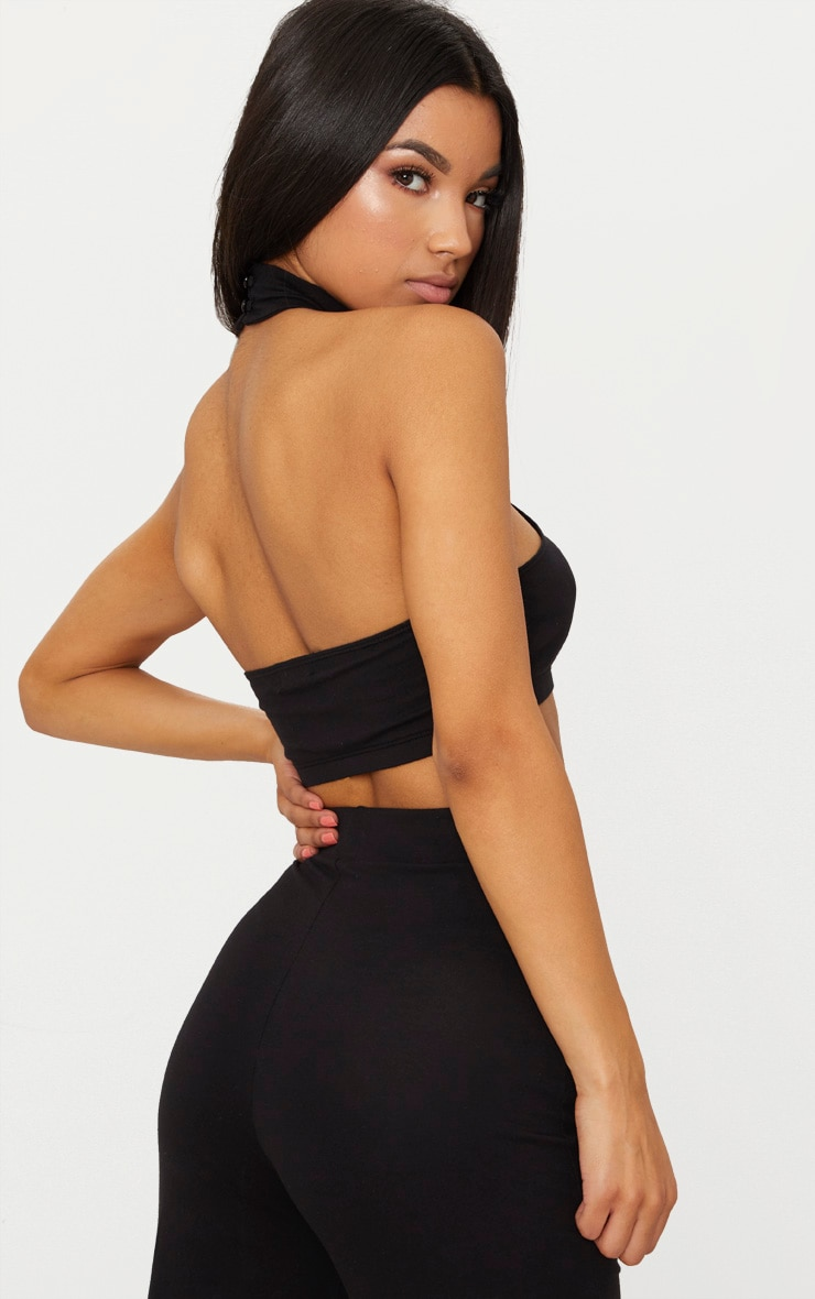 Black Second Skin Halterneck Crop Top 2