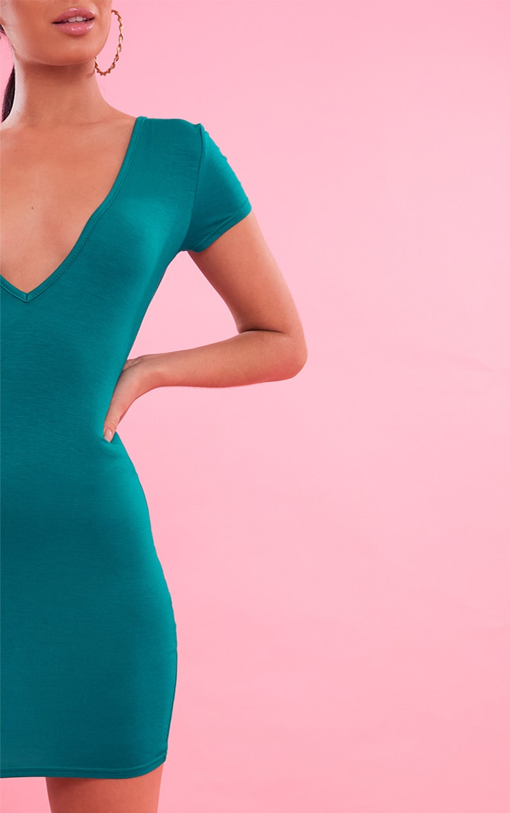 Bright Green  Plunge Front Cap Sleeve Bodycon Dress 6