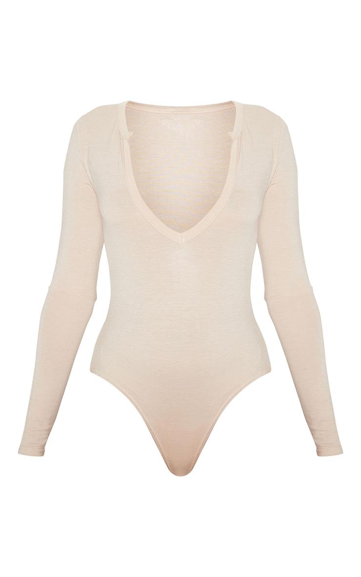 Basic Sand  Plunge Long Sleeve Bodysuit 3