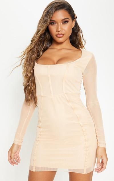 Fawn Sheer Mesh Square Neck Binding Detail Bodycon Dress
