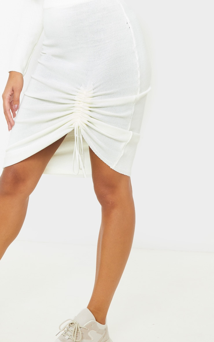 Ivory Ruched Front Knitted Midi Skirt 6