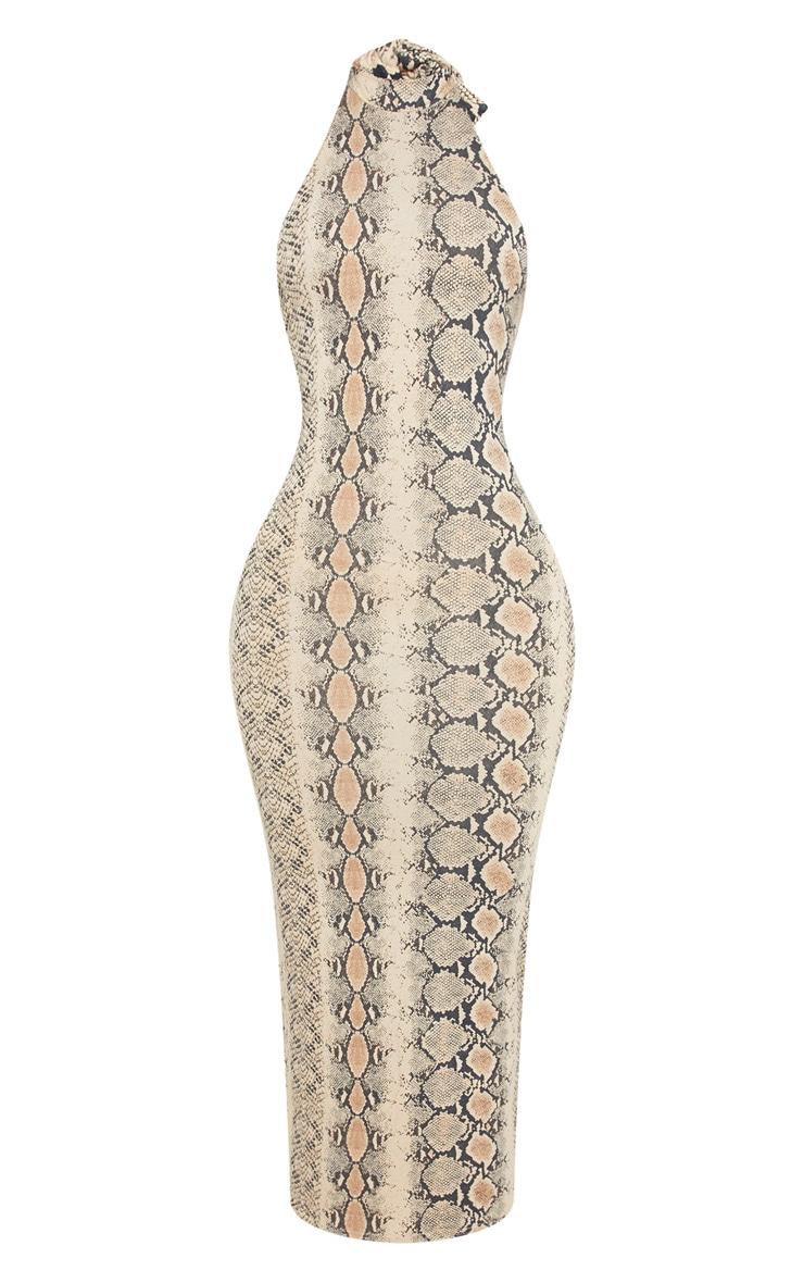 Shape - Robe longue dos nu taupe à imprimé serpent 3