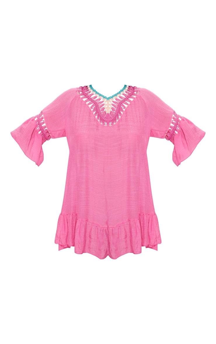 Hot Pink Pom Pom Crochet Back Frill Hem Sheer Shift Dress 3