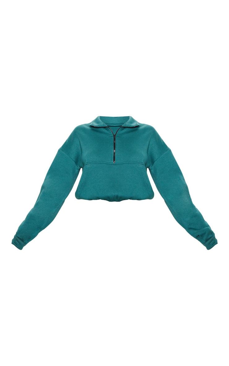 Jasper Green Oversized Zip Front Sweater 3