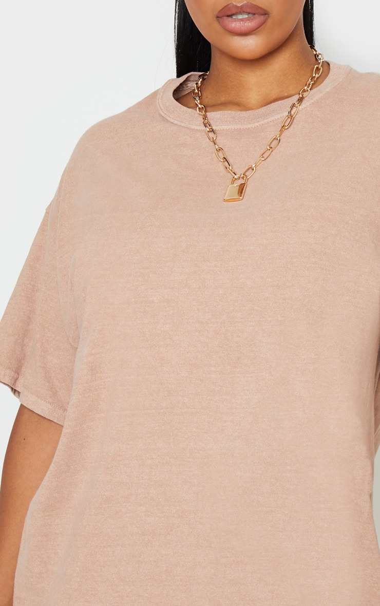 Taupe Washed Oversized T Shirt 5