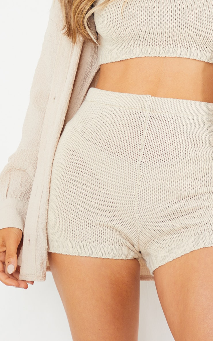 Cream Knitted High Waisted Shorts 6