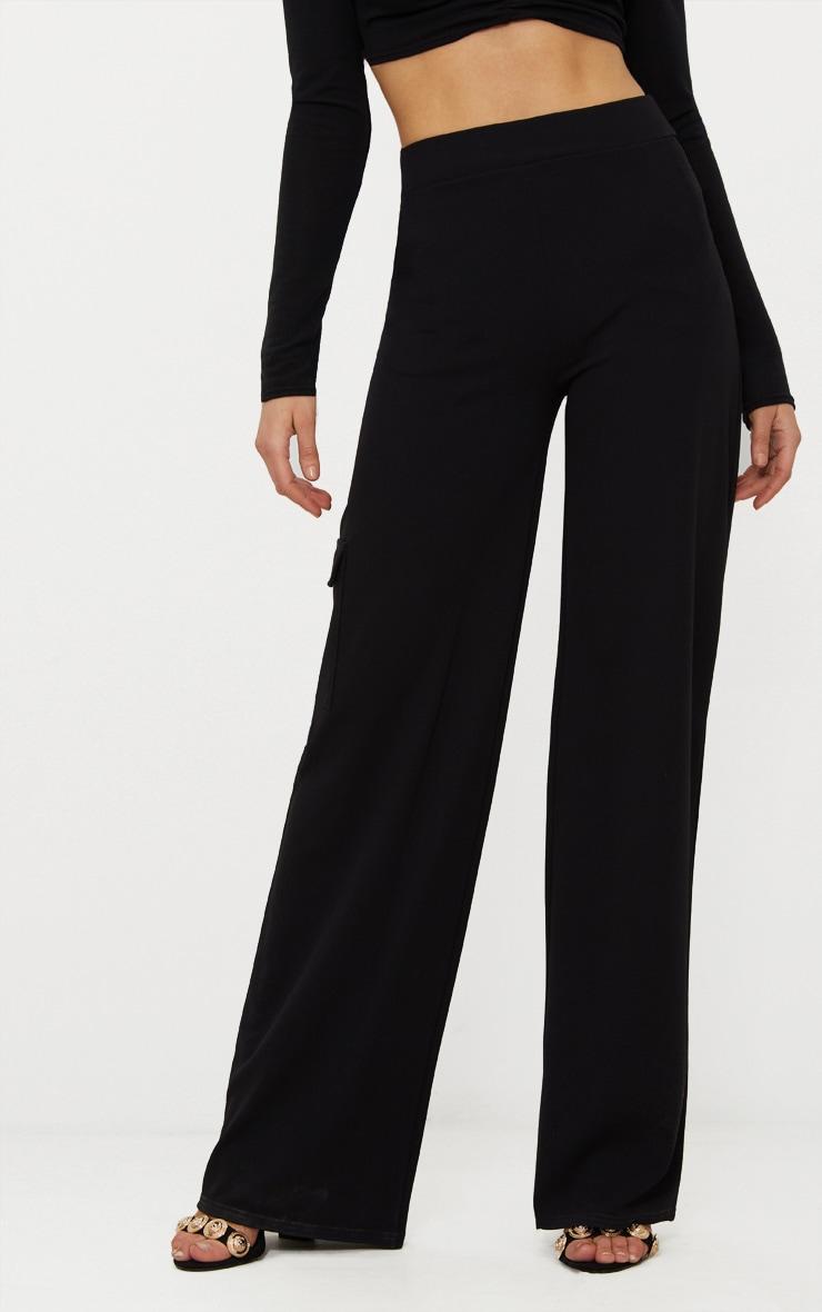 Black Crepe Wide Leg Pocket Trouser 2