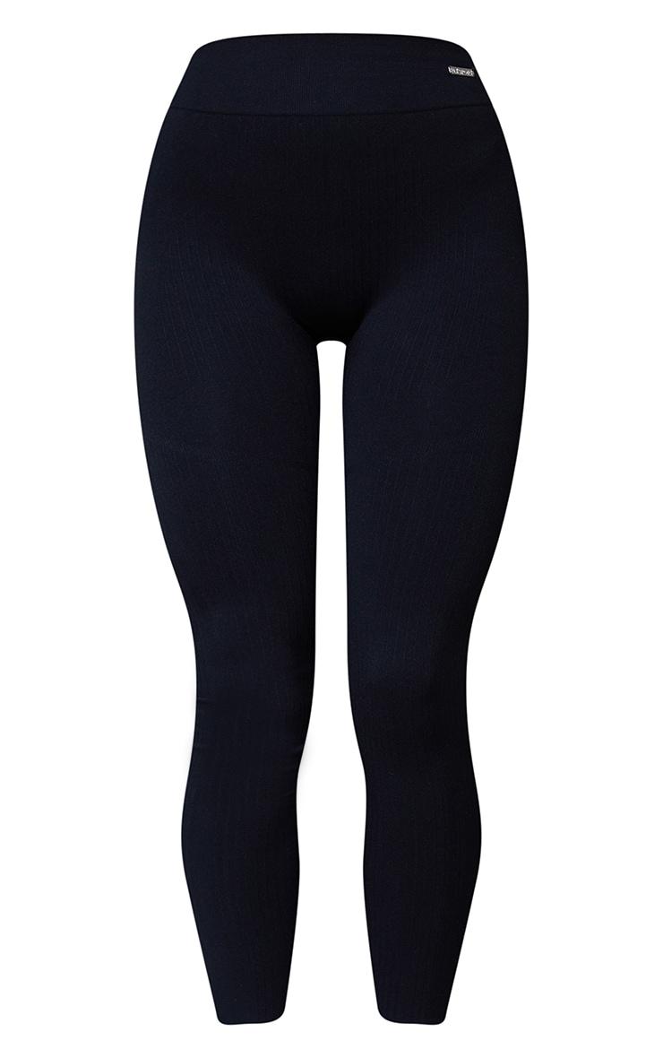 Black Seamless Rib High Waisted Gym Leggings 5