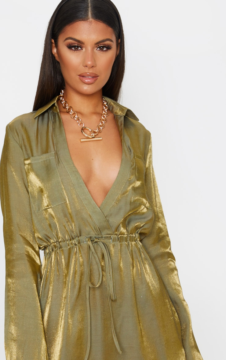 Green Metallic Iridescent Tie Waist Shift Dress 5