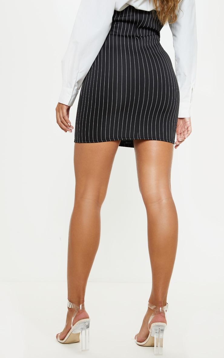 Mini-jupe rayée noire taille haute en néoprène style bustier 4