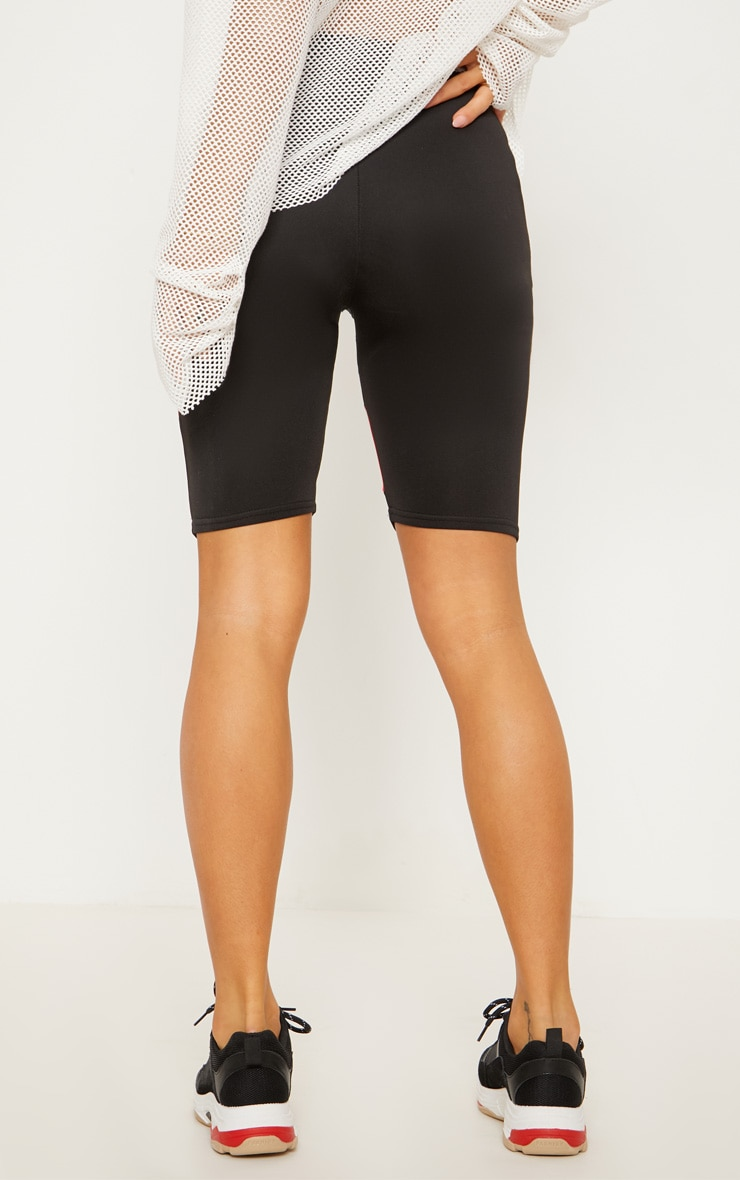 Black Super High Waisted Contrast Binding Cycle Short 5
