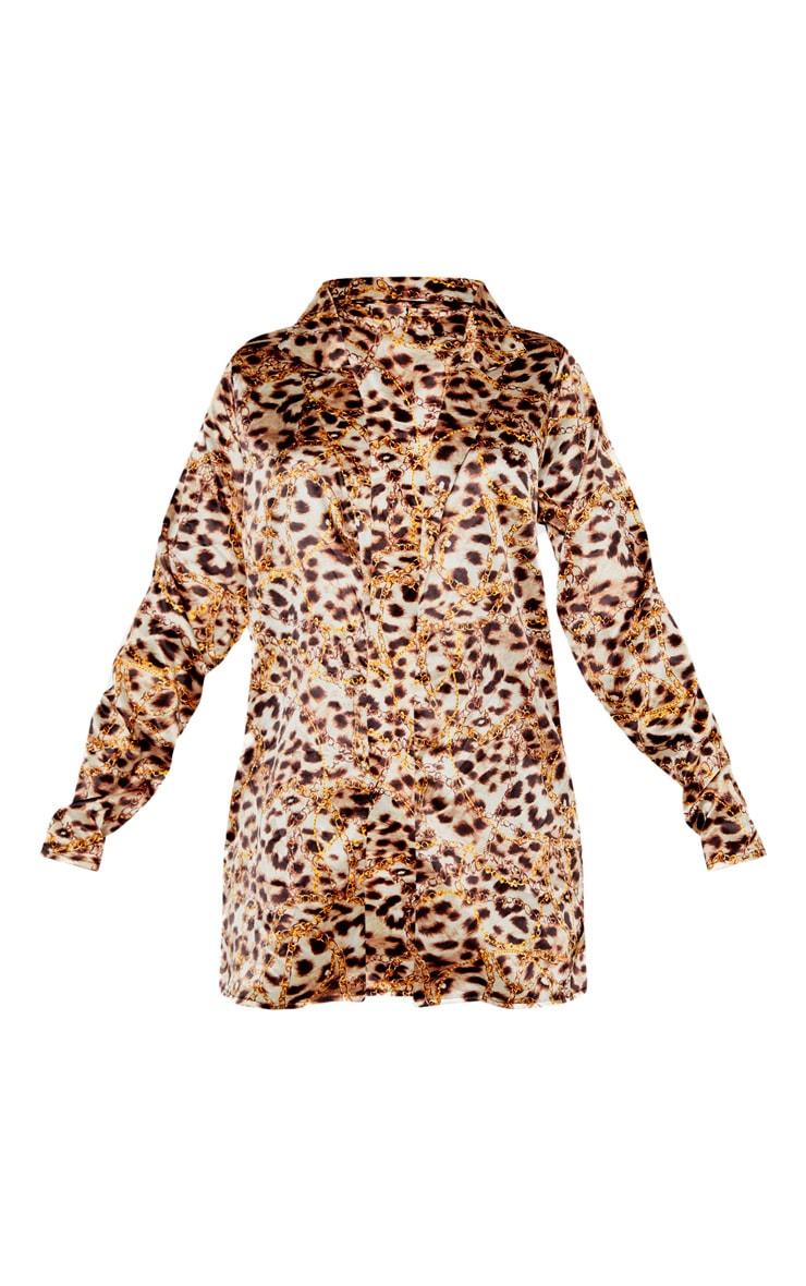 Brown Leopard Print Satin Blazer 3