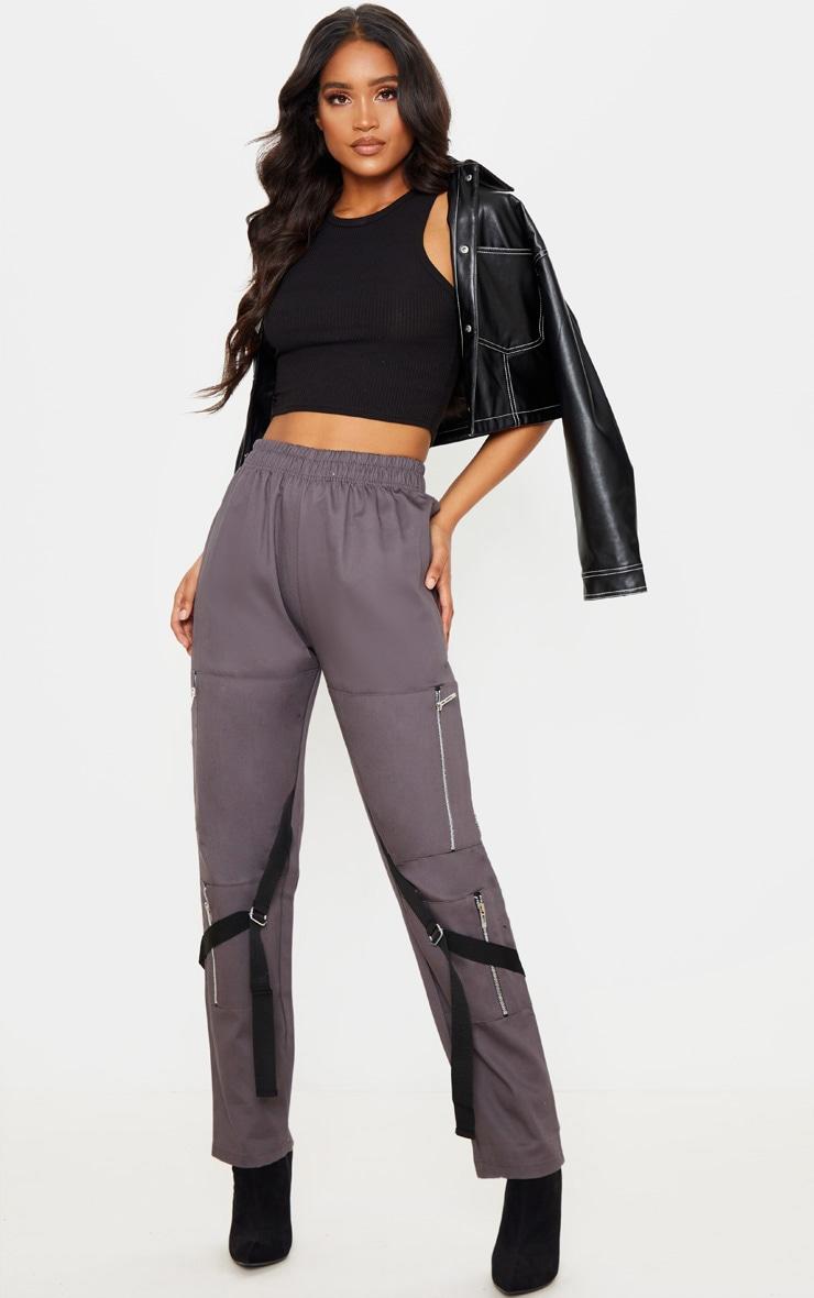 Charcoal Zip Detail Cargo Trouser 1