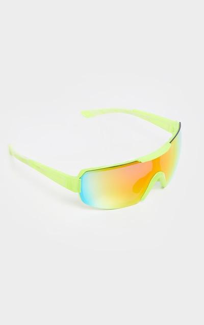 Neon Yellow Revo Sports Visor Sunglasses