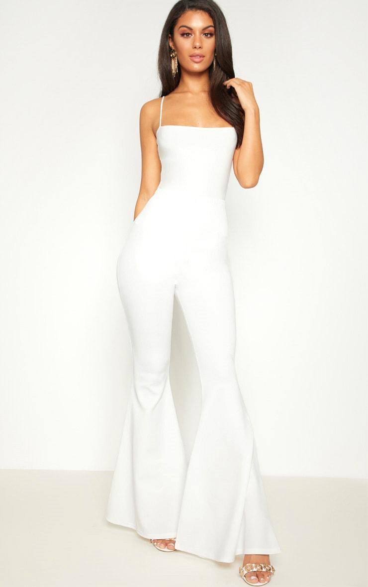 Cream Scuba Extreme Flare Trouser