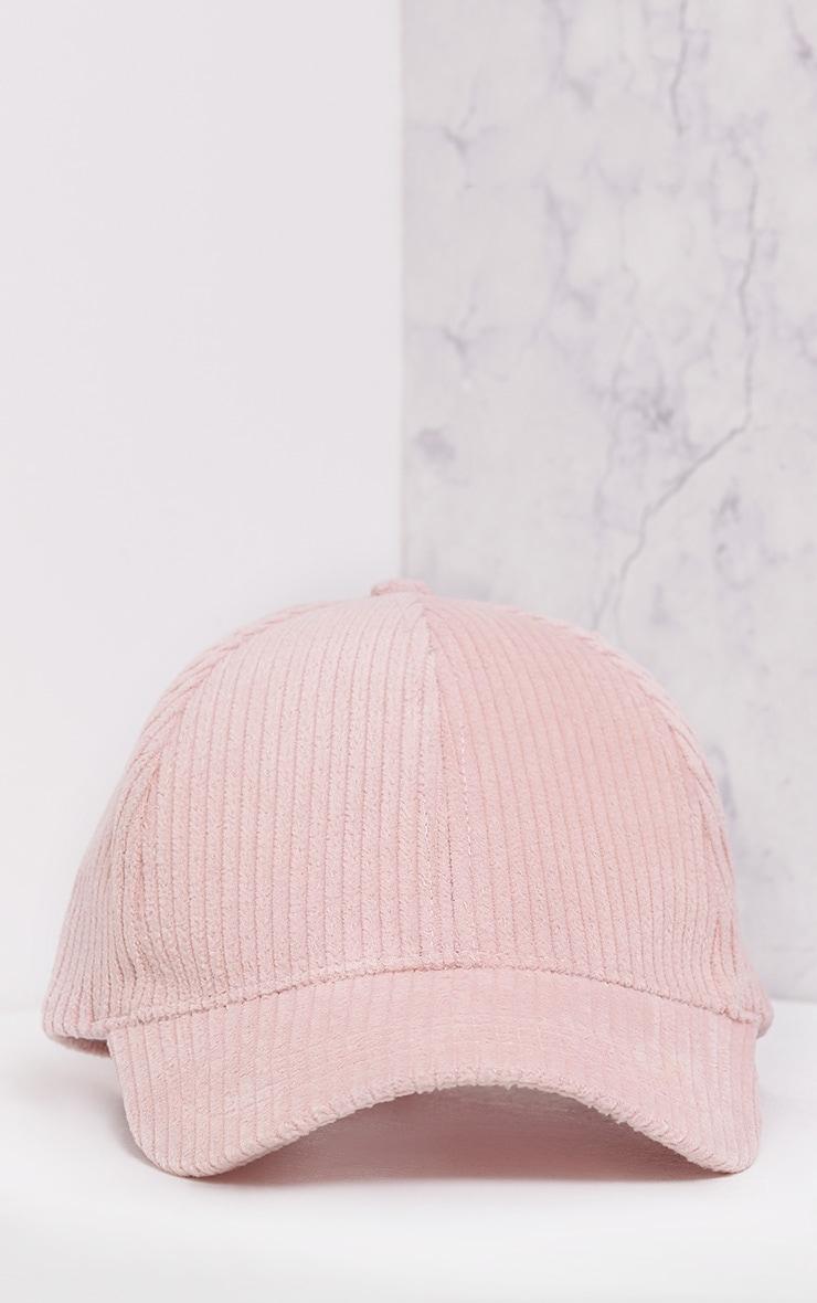 Marne Baby Pink Corduroy Baseball Cap 3