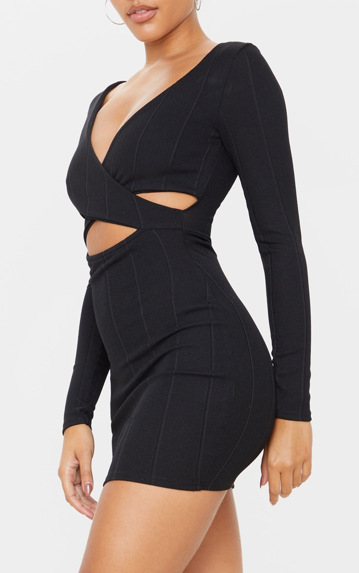 Black Bandage Cross Front Cut Out Detail Bodycon Dress 5