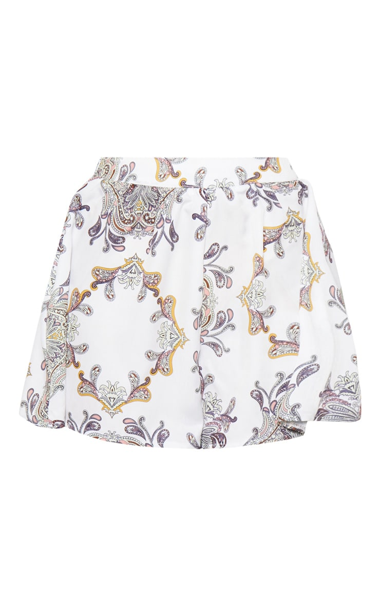 White Paisley Satin High Waisted Shorts 3